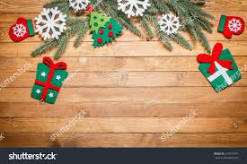 christmas new year decorations on wooden stock photo 217973971