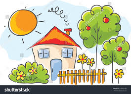 House Drawing by Childs Drawing House Garden Stock Vector 216043189 Shutterstock