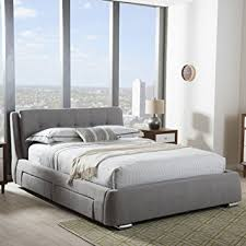 King Storage Platform Bed Baxton Studio Camile King Storage Platform Bed In Gray