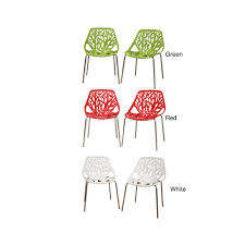 Molded Plastic Outdoor Chairs by Birch Sapling Plastic Accent Dining Chairs Set Of 2