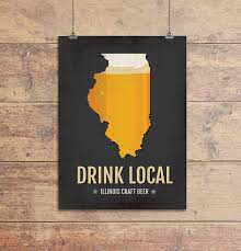 Illinois Brewery Map by Amazon Com Illionis Beer Print Map Il Drink Local Craft Beer