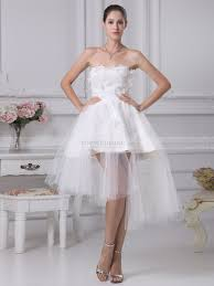 tulle wedding dresses uk strapless appliqued mini wedding dress with asymmetrical tulle overlay
