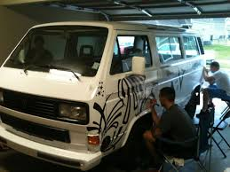 black volkswagen bus sharpie art neighbors decorate a volkswagen van with black