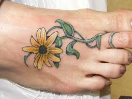 33 sun flower foot tattoos