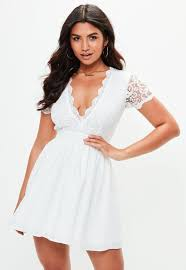white lace dress white lace plunge front skater dress missguided
