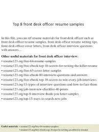 Front Desk Officer Front Desk Sle Resume Sle Resume For Hotel Front Desk