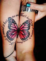 pink black butterfly on both forearm one for two