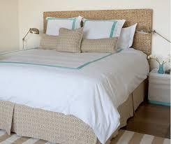 beach bungalow inspired bedroom seagrass headboard white beige