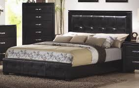 Black Leather Headboard Bedroom Set Cm201401 5pc Bedroom Set In Black W Options