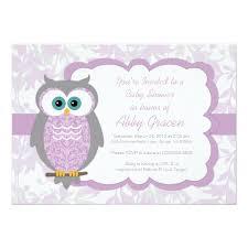 owl baby shower invitation for purple 730 zazzle