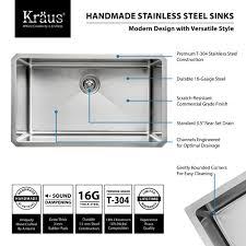 stainless steel kitchen sink combination kraususa com kraus 30 inch undermount single bowl 16 gauge stainless steel kitchen sink with kitchen faucet and
