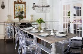 Clear Acrylic Dining Chair Clear Acrylic Dining Chairs Paired With Traditional Pedestal Table