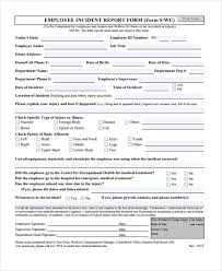 employee incident report templates sle incident report form