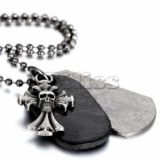 cross skull necklace images Fashion men jewelry cross skull pendant leather dog tag necklace jpg