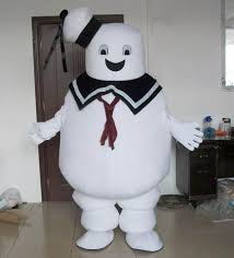 stay puft marshmallow costume with mini fan inside the white stay puft marshmallow mascot