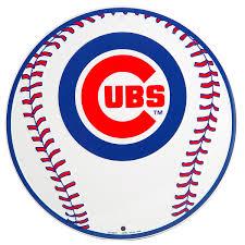Cubs Flag Chicago Cubs Baseball Logo Metal Sign Sports Team Decor