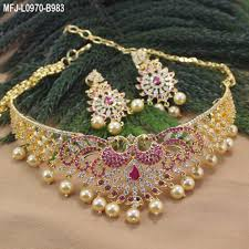 plated choker necklace images Cz ruby stones peacock design with pearls drops gold plated jpg