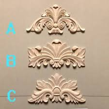 decorative wood carvings fashion square gate flower applique corner flower kitchen cabinet