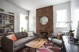 apartment plush brick wall inside small studio apartment feat