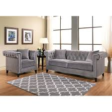 Grey Velvet Sofas Abbyson Victoria Grey Velvet Sofa And Armchair Set Free Shipping