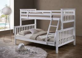 Wooden Bunk Beds With Mattresses Quality White Solid Wooden Wood 3 Sleeper Bunk Bed