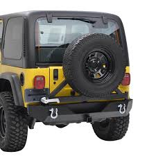 jeep rear bumper with tire carrier 87 06 jeep wrangler yj tj heavy duty rock crawler rear bumper