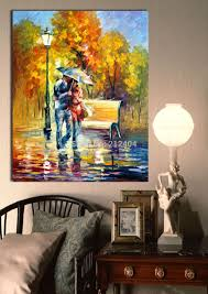 walking in the rainy day modern color palette oil painting printed