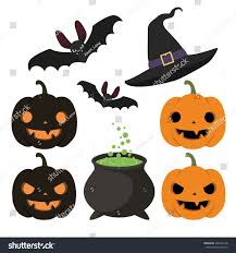 set halloween items hat bat cauldron stock vector 488109118