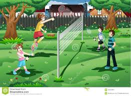 family playing badminton in the backyard stock vector image