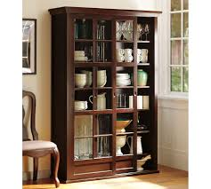 Bookcase Cabinet With Doors Garrett Glass Cabinet Pottery Barn