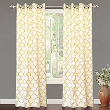 Yellow White Curtains Intelligent Design Maci Window Curtain Microfiber