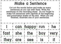 sight word sentences cut and paste to match the pictures set 2
