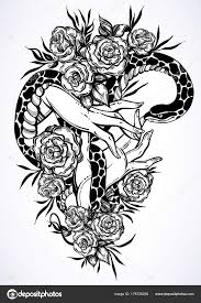 vector illustration with s holding a snake