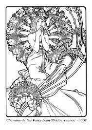cool design ideas alphonse mucha coloring pages painting by
