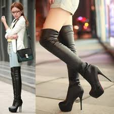 womens boots knee high leather leather boots bottom platform thigh high shoes