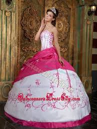 pink dresses embroidered white and hot pink dresses for a quince with lace up
