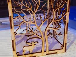 candle holder laser cut tree animals wood present tea candle by