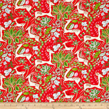 winterland fabric reindeer poinsettias on