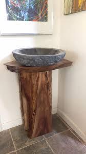 Vessel Pedestal Sink Black Walnut Corner Hardwood Live Edge Bathroom Vessel Sink Vanit