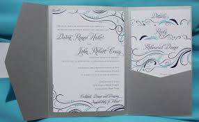silver wedding invitations turquoise purple silver swirls dots pocketfold wedding
