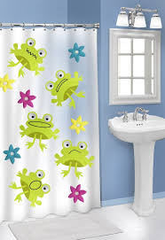 bathroom frog pattern on bathroom curtain and also white framed