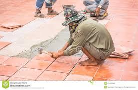 Floor Tile Repair Worker Repair Floor Tile And Installation For House Building