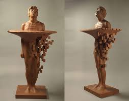wood sculpture pixelated wood sculptures carved by hsu tung han colossal