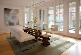 Modern Glass Dining Table Dining Room With Brick Fireplace With Brick Fireplace Design For