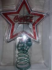 coca cola christmas star tree topper art glass htf new