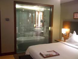 the glass wall between bathroom and romantic bedroom with excerpt