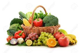 fruit and vegetable baskets composition with vegetables and fruits in wicker basket isolated