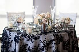 Lace Table Overlays Wedding Tablescape Black Lace Overlay Silver Vases Candles
