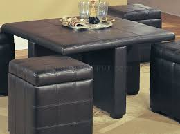 brown leather stylish coffee table w 4 storage ottomans