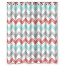 Green And Gray Shower Curtain Coral Light Green Gray And White Chevron Zig Zag